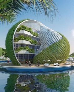 """30 Amazing Green Building Architecture Design Ideas - The latest trend in new home construction is """"green building"""". Most people equate green building with efficient or renewable materials. Unique Architecture, Futuristic Architecture, Sustainable Architecture, Landscape Architecture, Building Architecture, Building Design, Hotel Design Architecture, Architecture Sketchbook, Pavilion Architecture"""