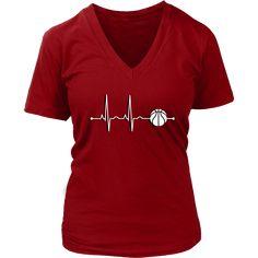 Women's Basketball Heartbeat V-Neck T-Shirt - Sports Gift