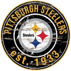 "Pittsburgh Steelers Distressed 24"" x 24"" Round Wall Art"