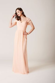 Our enchanting INDIA chiffon gown - Style 2342 - shown here in peach - will make your bridesmaids look and feel like princesses on your fairytale wedding day. Visit www.ebonyrosedesigns.com to find your nearest retailer