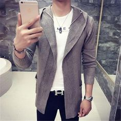Autumn Winter New Mens Sweater Long Sleeve Cardigan Males Pull style cardigan Clothings Fashion Hooded Sweaters Men 7Colour