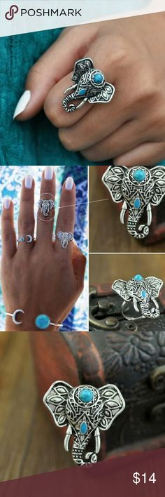 🐘 Turquoise Elephant Ring Turquoise elephant statement ring. Aztec tribal look. Silver plated. Adjustable size. Perfect condition. Vintage Hipster Vintage Jewelry Rings