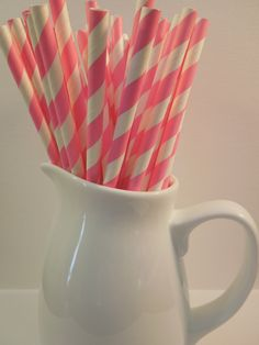 25 Bubblegum Pink Stripe Drinking Paper Straws, Mason Jar Straws - Party Straws, Shower, Wedding, Birthday, Picnic Straws $2.99