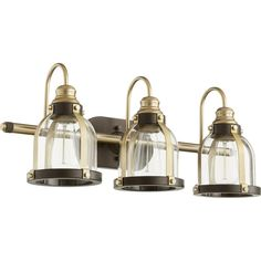 Shop for Quorum International Banded Dome Family Clear Glass Vanity or Sconce, 3 Light. Get free delivery On EVERYTHING* Overstock - Your Online Kitchen & Bath Lighting Store! Bronze Bathroom, Bathroom Vanity Lighting, Light Bathroom, Bathroom Sconces, Bathroom Basin, Perfect Eyeliner, Glass Vanity, Wall Fixtures, Cool Floor Lamps