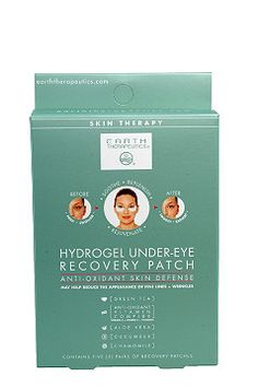 $9 Earth Therapeutics Hydrogel Under-Eye Recovery Patch  Enriched with a beneficial blend of plant extracts, green tea and anti-oxidant vitamins, the gel sheet is actually an Active Hydrogel Matrix that cools and comforts on contact- while delivering a continuous, concentrated flow of nourishment and hydration to the skin.  Puffiness and swelling are relieved; dark circles are diminished. 5 pairs of patches