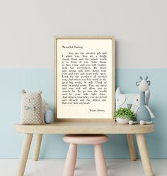 My Beautiful Darling, Art Print, Wall Art, Literary Art Print, Custom Art Print, Letter For Sophie, Gift For Daughter, Nursery Art Scandinavian Baby Names, Childrens Wall Art, I Adore You, Custom Art, Nursery Art, Creative Art, Wall Art Prints, Literature, Art Pieces