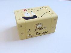 Pirate wooden treasure box hand painted by BugabooBearDesigns, $20.00