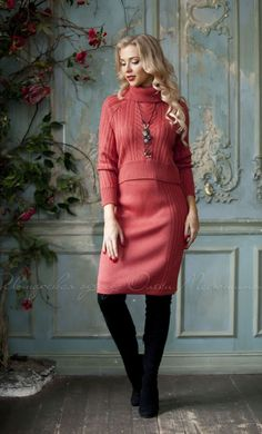 Casual warm suit, knitted red suit by Olesya Masyutina. skirt set women suit, sweater with voluminous neck, sweater with braids, pencil skirt, winter suit. 800 models of knitted and fabric women clothes in casual style, evening and wedding.