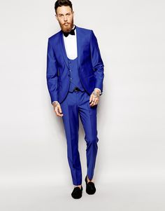 Noose & Monkey Cobalt Blue Suit With Shawl Lapel In Skinny Fit