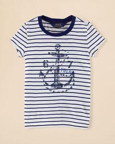 Ralph Lauren Childrenswear Girls' Stripe Graphic Tee - Sizes 2-6X