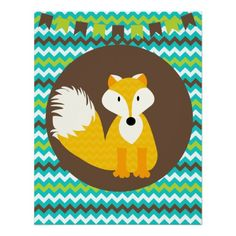 Gold and Brown Chevron Fox Nursery Poster  Click on photo to purchase. Check out all current coupon offers and save! http://www.zazzle.com/coupons?rf=238785193994622463&tc=pin
