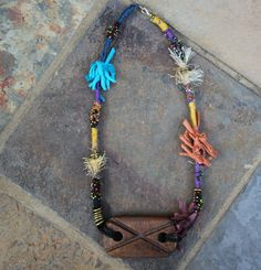 Textile Necklace  Fabric jewelry  Handmade  by KennaInAfrica, $38.00
