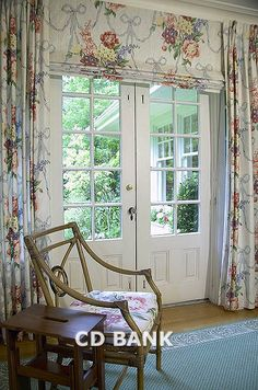 window treatment for French doors - i love this if i could afford the fabric to do it myself