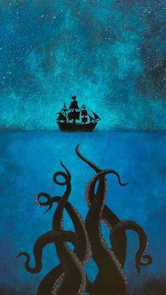 Trends Handmade Board Ideas : Sea Monster painting cthulu loch Ness tentacle art pirate ship art pirates of the carribbean ocean art night sky sea art original Pirate Art, Pirate Ships, Pirate Crafts, Pirate Life, Sea Art, Sea Monsters, Pirates Of The Caribbean, Sea Pirates, Caribbean Art