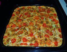Focaccia com Tomate Cereja e Azeitonas