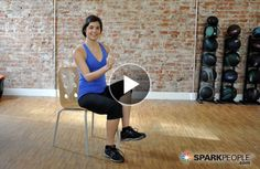 """One pinner said """"WOAH, this looks easy but is surprisingly challenging! Really worked up a sweat! I will try this again when I can't get to the gym."""" 11-Minute Chair Cardio Workout Video"""