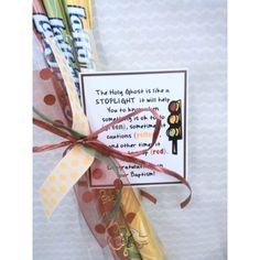 Baptism Gift. Laffy Taffy red, yellow, green w/tag about Holy Ghost being like a Stoplight.