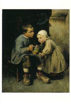 Helene Schjerfbeck - Pikkusiskoaan ruokkiva poika (Boy feeding his little sister)