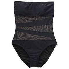 Women's Mesh Inset Microgoddess Bandeau One-piece Swimsuit Black  S - Mossimo™ : Target