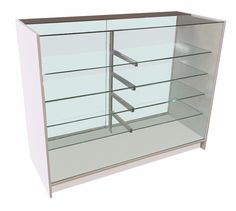 Glass Display Counter With Half Glass Top   An Elegant Retail Glass Cabinet  With Full Glass Display Frontage And Toughened Glass Shelves.