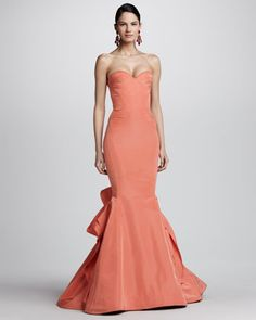 Strapless Ruffle-Back Fishtail Gown by Oscar de la Renta at Neiman Marcus.