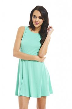 $41, Mint Skater Dress: AX Paris Cut Out Knot Back Mint Skater Online. Sold by Sears. Click for more info: http://lookastic.com/women/shop_items/60594/redirect