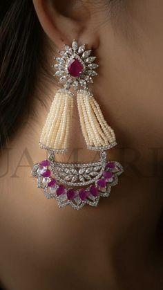 Latest Earrings Design, Designer Earrings, Chunky Jewelry, Fine Jewelry, Diamond Jewelry, Diamond Earrings, Red Spinel, Diamond Are A Girls Best Friend, Necklace Designs