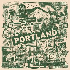 Portland Oregon Silk Screen Collage Print Etsy by gigart on Etsy