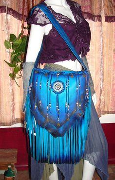 "Leather Handbag Deerskin Fringed Beaded Purse ""STARRY NIGHT"" Braided Flap Hobo Bag with Crystals and Stars Handmade by Debbie Leather by dleather on Etsy https://www.etsy.com/listing/227486583/leather-handbag-deerskin-fringed-beaded"