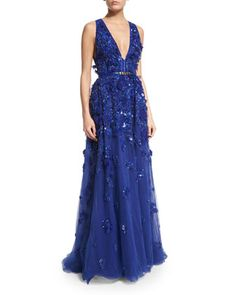 Sleeveless+Embellished-Tulle+Gown,+Imperial+by+Elie+Saab+at+Neiman+Marcus.