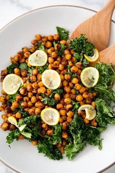 TOASTED KALE AND PAN FRIED CHICKPEA SALAD with preserved lemons - via a house in the hills
