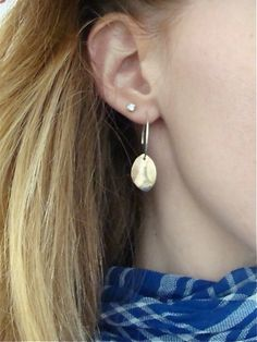 """golden petal ... mixed metal earring by sirenjewels on Etsy. The hoops are about 3/4"""" diameter."""