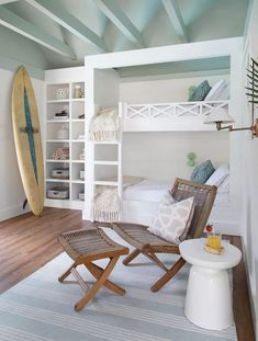 Surfer Chic Pool House Remodel Interior Pictures - New Ideas Decoration Surf, Pool House Interiors, Pool House Decor, Pool House Bathroom, Surf House, Bunk Rooms, Bunk Beds, Bedrooms, Dream Beach Houses