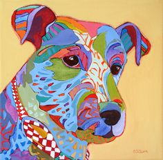 """Pretty Boy,"" contemporary abstracted dog painting of a Jack Russell 