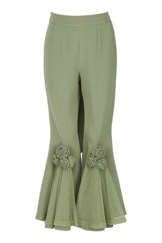 Eshaani Jayaswal presents Olive green appliqued pants with blazer available only at Pernia's Pop Up Shop. Sharara Designs, Kurti Designs Party Wear, Pakistani Fashion Party Wear, Pakistani Dresses Casual, Pakistani Dress Design, Fashion Pants, Fashion Outfits, Moda Indiana, Sleeves Designs For Dresses