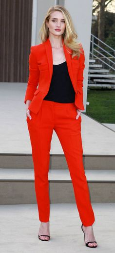 Rosie Huntington-Whiteley Matching separates  Red color for this season A/W
