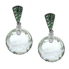 Green Amethyst, Green Garnet &  Diamond Earrings