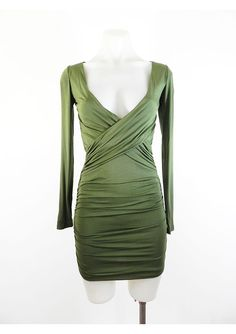This is a gorgeous, on trend, khaki green, bodycon dress by AVA. This dress is very flattering on, with the cross front detail at the top and the side draping on the skirt. It has long sleeves and is easy to get into with a hidden zipper on one side. Khaki Green, Wrap Style, Ava, Bodycon Dress, Formal Dresses, Mini, Long Sleeve, Casual, Skirts