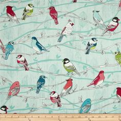 Branching Out Metallic Birds on Branches Robin/Silver from @fabricdotcom  From Hoffman California International Fabrics, this cotton print is perfect for quilting, apparel and home decor accents.  Colors include red, pink, citron, green, white, black, and mint with metallic silver accents throughout.