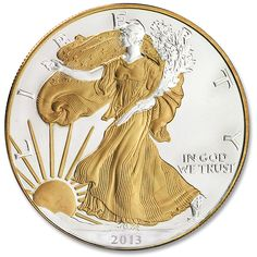 2013 Silver American Eagle is given the Midas touch with 24k gold accents