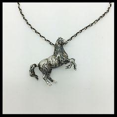 Handmade Silver Horse Pendant, Mustang, Ferrari, Lucky Gift #Handmade #Pendant