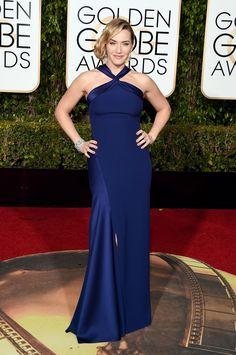 2016 Golden Globes Red Carpet - Kate Winslet Wearing a navy blueRalph Laurenhalterdress,Jimmy Chooheels, and Neil Lane jewelry.