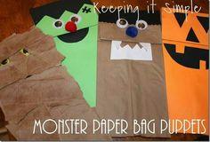Halloween sack puppets