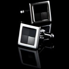 Gray Crystal Inlay Cufflinks