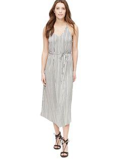 $98 Ann Taylor LOFT White w/ Black Striped Racerback Midi Dress Women's Sz 8 NWT #AnnTaylorLoft #RacerbackMidiDress #Casual