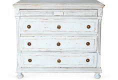 19th-C. Antique Gustavian four-drawer dresser, hand-doweled with original hardware. Recently painted.