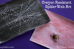 Halloween craft for children - Crayon resistant spider web art Easy Halloween Crafts, Halloween Fun, Butterfly Party Favors, Disney Star Wars, Crafts For Kids To Make, Kids Church, Spider, Arts And Crafts, Second Grade