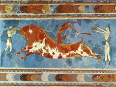 "Bull Leaping; fresco from the Palace of Knossos (Heraklion, Crete), ca. 1500 B.C., Height, including upper border, approx. 24 1/2""; appears to be some ancient ritual in which 1 girl holds the horns, 1 girl stands, arms extended, and a male leaps over the back of the bull"