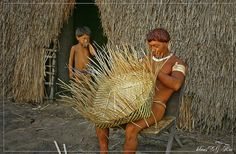 Yawalapiti: man weaving a basket