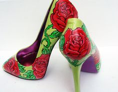 Hand painted heels  Rose and Thorns customize your by kezbirdie, £90.00